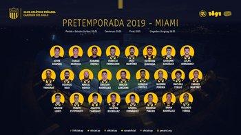 El plantel de Peñarol para la pretemporada 2019 en Miami