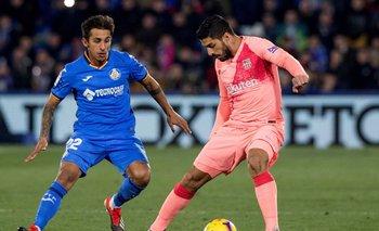 Luis Suárez ante la marca de Damián Suárez