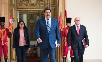 El presidente venezolano, Nicolás Maduro, este lunes en el Palacio de Miraflores