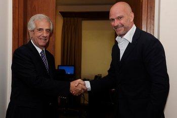 El presidente Tabaré Vázquez y el empresario italiano Giuseppe Cipriani