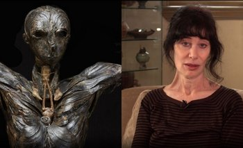 """La escultura """"Adán"""" y su creadora Gillian Gensen"""
