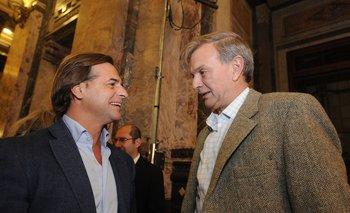 El presidente Lacalle y el director nacional del Deporte Sebastián Bauzá