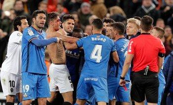 Incidentes entre jugadores de Getafe y Valencia