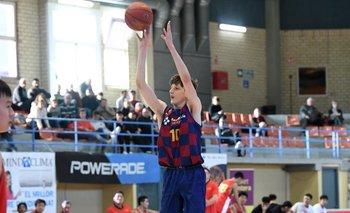 Ubal con el equipo junior de Barcelona