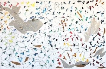 Antonella Lambertini-Todo se conecta 90x150cm Acuarela y collage sobre papel en Posada Paradiso
