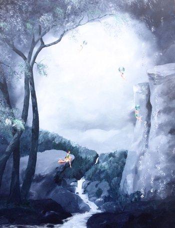 Carmela Piñón- Ellas en el bosque nocturno 130x100cm Acrílico sobre lienzo En exposición  Dimensiones fantásticas en Galería Paideia, José Ignacio
