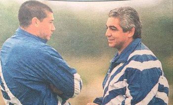 Miguel Puppo en su primer día en Nacional, en 1996, charlando con Milton Gómez
