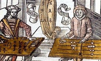Pitágoras (derecha) usando una tabla de conteo, compite contra Boecio (Boece) usando algoritmos de velocidad en el cálculo. De Margarita Philosophica. (Basilea, 1508)
