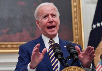Joe Biden durante un discurso en la Casa Blanca (Washington)
