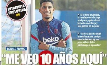 Ronald Araújo en la portada del diario Mundo Deportivo de Barcelona