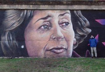 El mural de Gallino dedicado a China Zorrilla