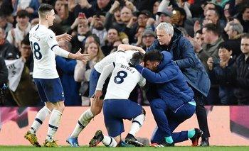 Mourinho celebra un gol de su equipo, Tottenham, que venció 2-0 a Manchester City