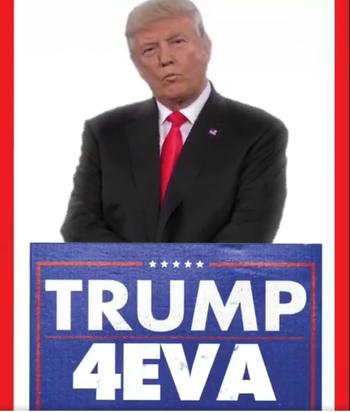"""Imagen del presidente de Estados Unidos, Donald Trump, con la leyenda """"para siempre"""""""