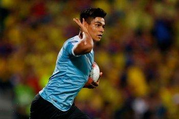 Matías Arezo cuando defendió a la celeste en el Preolímpico de Colombia en febrero del año pasado