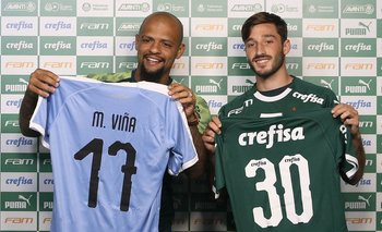 La presentación de Matías Viña en Palmeiras