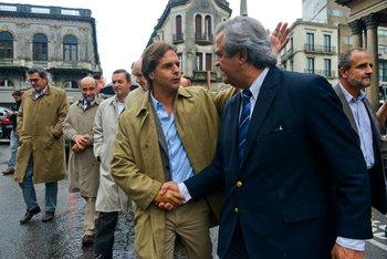 Los principales líderes opositores llegan al juzgado para presentar la denuncia sobre Ancap