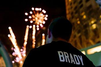 Un fanático de Tom Brady en el show del Super Bowl