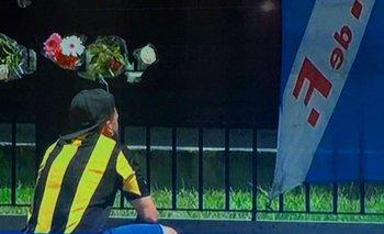 Un hincha de Peñarol fue a ofrecer sus respetos al Morro García hasta la sede de Nacional