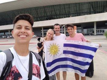 Pamela y familia, cuando viajó a Estados Unidos.