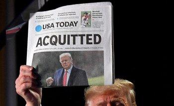 Trump en 2020, al día siguiente de ser declarado inocente en el primer impeachment