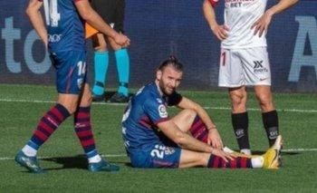 La lesión de Gastón Silva en Huesca ante Sevilla