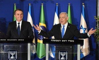 El presidente de Brasil, Jair Bolsonaro, junto al primer ministro de Israel, Benjamin Netanyahu