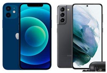 El iPhone 12 y el Galaxy S21 frente a frente.