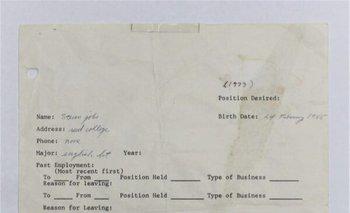 La solicitud de Jobs fechada en 1973