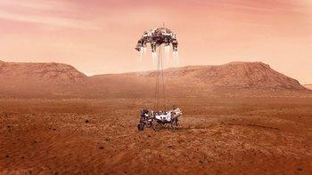 Perseverance aterrizando en Marte.