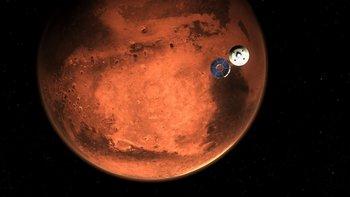 El robot de la NASA llegando a Marte.