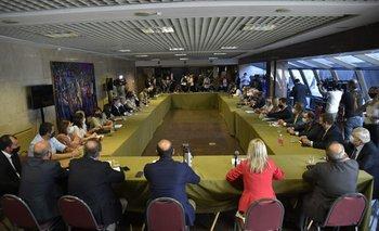 Los legisladores de la coalición se reunieron en el edificio anexo del Palacio Legislativo