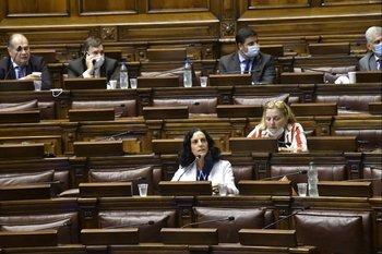 La ministra Arbeleche durante su exposición en la comisión permanente del Parlamento