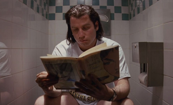 Vincent Vega se toma un respiro en medio de Pulp Fiction