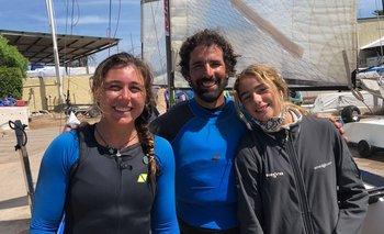 Dominique Knuppel y Pablo Defazio celebraron el récord conseguido a su llegada al Puerto del Buceo
