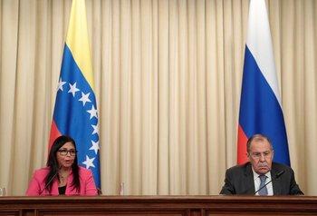 Vicepresidenta de Venezuela, Delcy Rodríguez, y el ministro de Exteriores ruso, Serguéi Lavrov