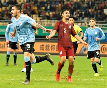 Con la absoluta de Uruguay, marcó dos goles en 17 partidos