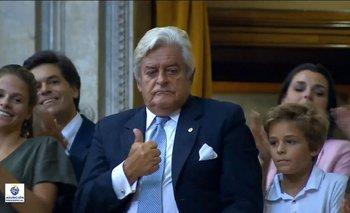 El expresidente Luis Alberto Lacalle Herrera, durante la asunción de su hijo, Luis Lacalle Pou, como presidente de la República, el 1° de marzo de 2020