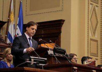 Luis Lacalle Pou en su discurso de asunción, el 1° de marzo de 2020