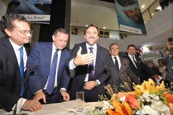 Ferrés, Delgado, Cardoso, Monzeglio y Curbelo durante la asunción en el Ministerio de Turismo