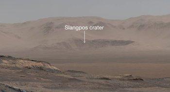 Cráter Slangpos: parte de la fotografía panorámica tomada por Curiosity