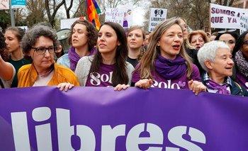 La ministra de Igualdad, Irene Montero, durante una manifestación por el Día de la Mujer en España
