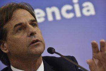 El presidente, Luis Lacalle Pou, en una conferencia en Torre Ejecutiva