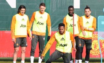 Cavani en un entrenamiento de los Reds.
