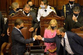 El presidente Luis Lacalle Pou presentando su balance de un año de gestión ante la Asamblea General.