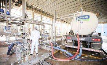 Descarga de leche en complejo industrial de Conaprole.