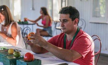 Alberto Castañero realizando la cata abierta de tomates antiguos