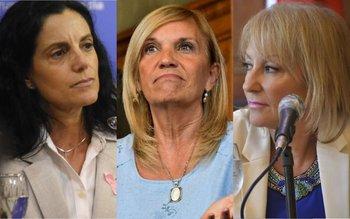 La ministra de Economía, Azucena Arbeleche, la vicepresidenta de la República, Beatriz Argimón, y la intendenta de Montevideo, Carolina Cosse