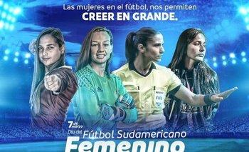 Así saludó Conmebol a las mujeres este 7 de marzo de 2021 en el día del fútbol sudamericano femenino; incluyó a Umpiérrez, a quien bajó de la Copa Libertadores