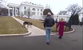 Biden y su esposa Jill con una de las mascotas en los jardínes de la Casa Blanca