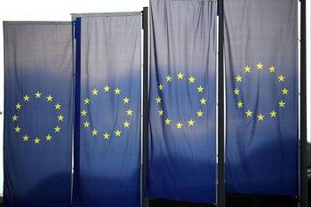 Banderas de la Unión Europea en Frankfurt